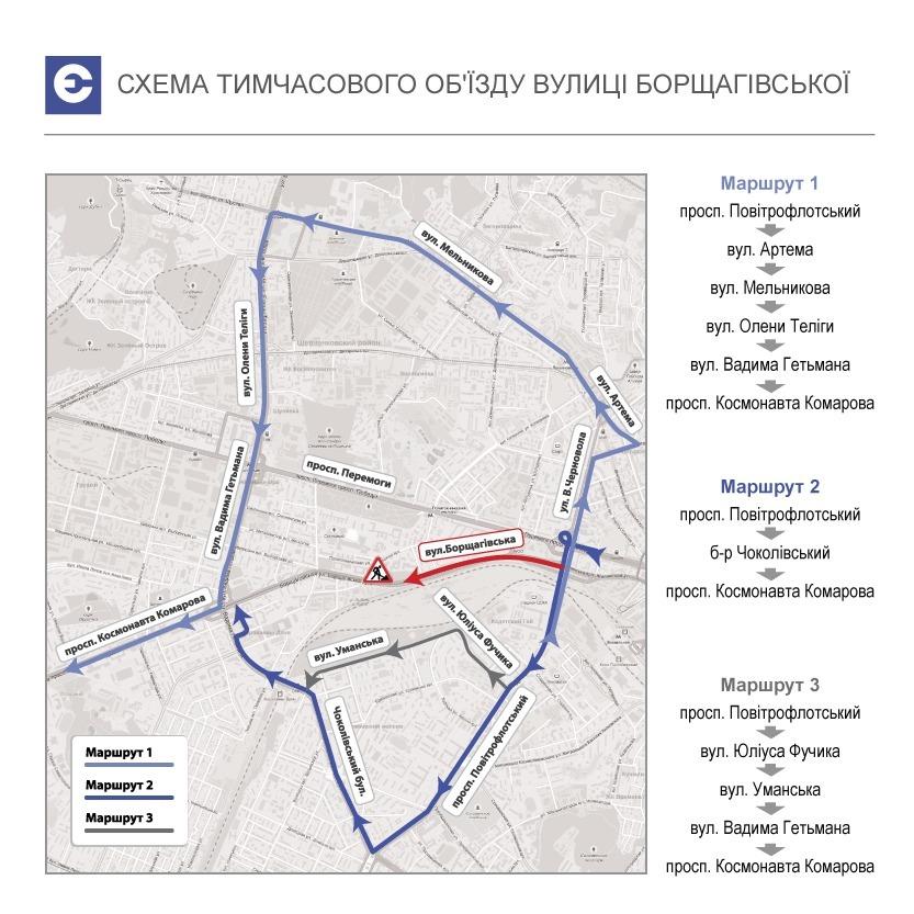 Як об'їхати провалля на Борщагівській (інфографіка)