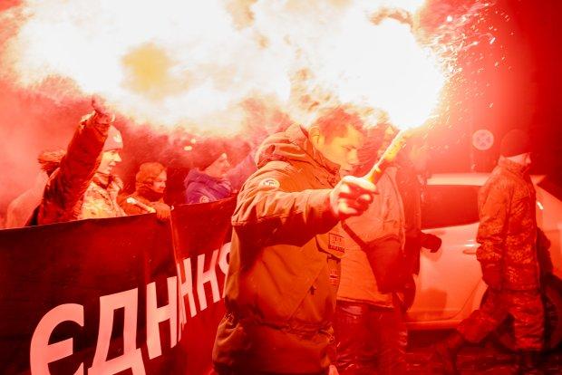 УКиєві відбулася смолоскипна хода доДня Соборності України