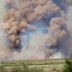 З'явилось відео пожежі на російському полігоні (відео)