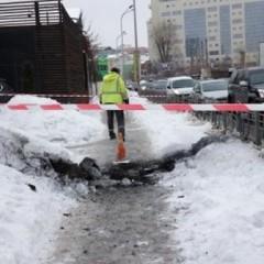 У центрі Києва пролунав вибух, з-під землі вилетів стовп вогню