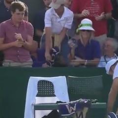 На Вімблдоні уболівальник відняв у дитини кинутий тенісистом рушник (відео)