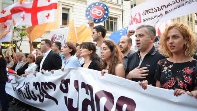 УГрузії провели акцію «Ні російському фашизму»