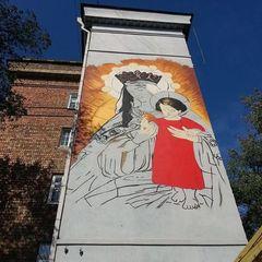 У Києві проспект Перемоги прикрасили зображенням Діви Марії (ФОТО)