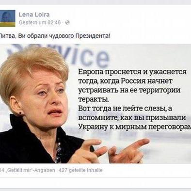 Грібаускайте спростувала псевдоцитати, які поширюють українські користувачі у соцмережах