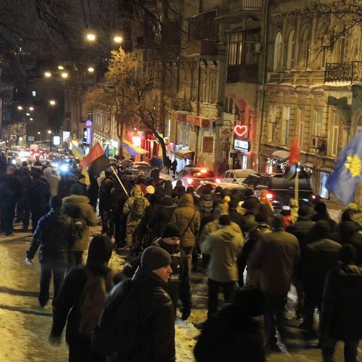 У Києві пройшла хода та палили шини (фото)