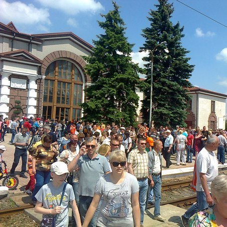 Залізничники із плакатами за «ДНР» вимагають зарплату в України