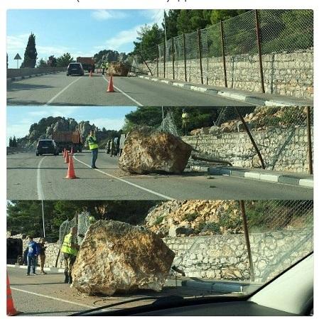 Хоч каміння з неба: у Криму на трасу впав величезний валун (фото)