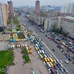 Протест водіїв маршруток у Києві. Опубліковано фото із висоти плашиного польоту