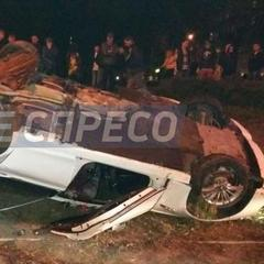 Моторошна ДТП в Києві: автівка перевернулась на дах (фото)