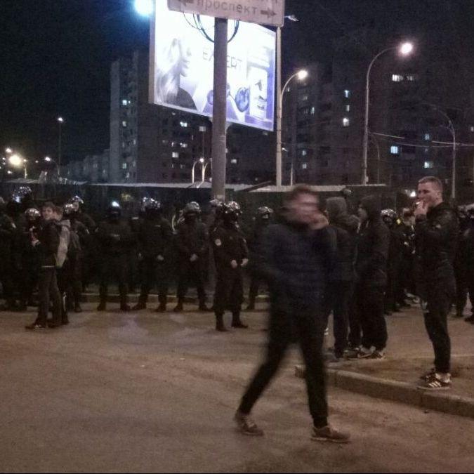У Києві на «Героїв Дніпра» зібрались мітингувальники (фото)