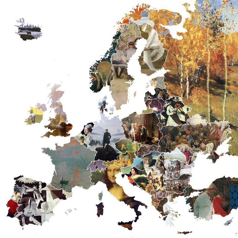 Створена карта Європи, де кожна країна представлена знаменитим твором мистецтва (фото)