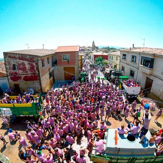 На вулицях іспанського містечка пролилось 40 тис. літрів вина на честь традиційної винної битви (фото, відео)