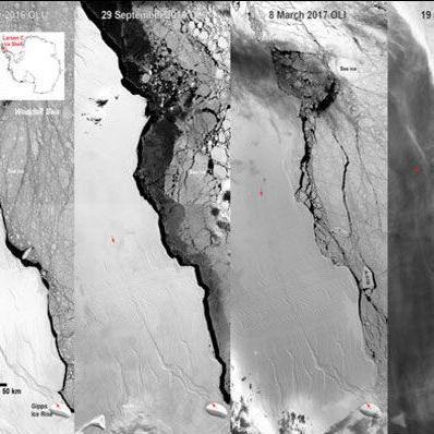 Один із найбільших антарктичних айсбергів дав тріщину