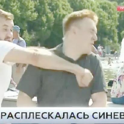 Нетверезий чоловік, який вдарив кореспондента НТВ у прямому ефірі, затриманий