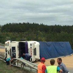 На Одещині на трасі перекинулась вантажівка із зерном (фото, відео)