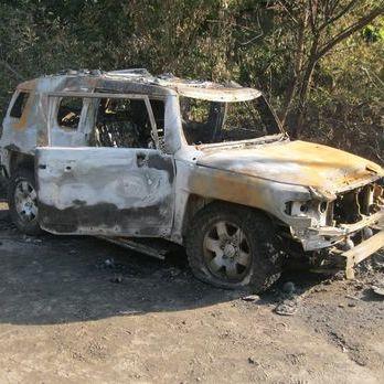 У Харківській області імовірно після пострілу з гранатомета згорів автомобіль – поліція
