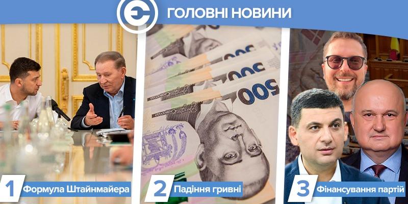 Найголовніше за день: реакція на «Формулу Штайнмаєра», падіння гривні та припинення фінансування партій, що програли вибори