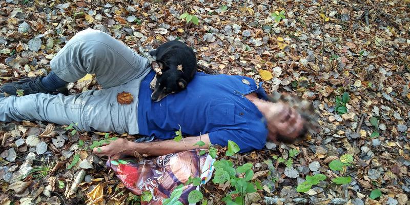 На Закарпатті песик та надзвичайник врятували життя чоловіку