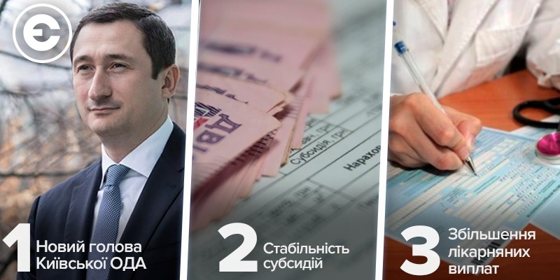 Найголовніше за день: новий голова Київської ОДА, стабільність субсидій та збільшення лікарняних виплат
