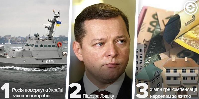Найголовніше за день: Росія повернула Україні захоплені кораблі, підозра Ляшку та 3 млн грн компенсації нардепам за житло
