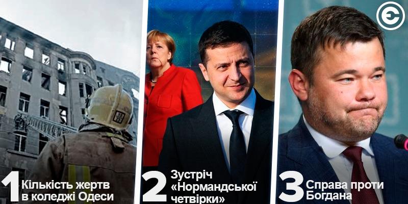 Найголовніше за день: кількість жертв в коледжі Одеси, зустріч «нормандської четвірки» та справа проти Богдана
