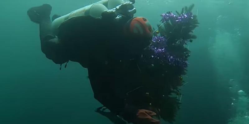 У Дніпрі встановили новорічну ялинку на глибині 40 метрів (відео)
