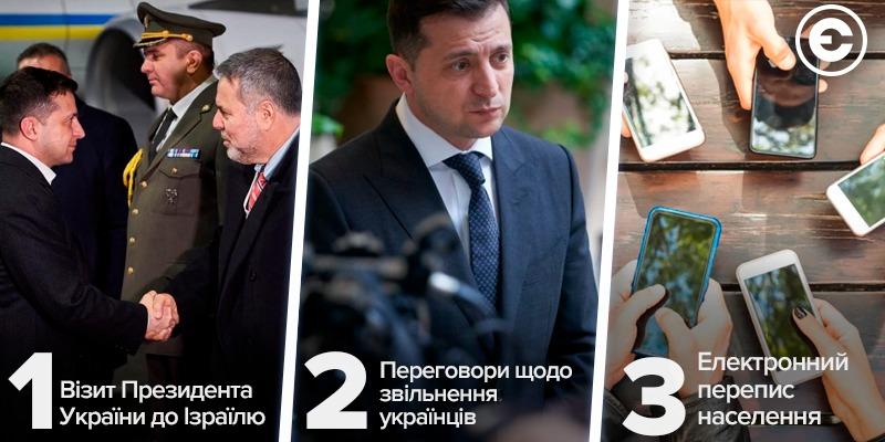 Найголовніше за день: візит Президента України до Ізраїлю, переговори щодо звільнення українців та електронний перепис населення