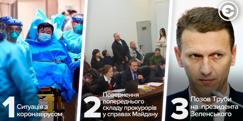 Найголовніше за день: ситуація з коронавірусом, повернення попереднього складу прокурорів у справах Майдану, позов Труби на  президента Зеленського
