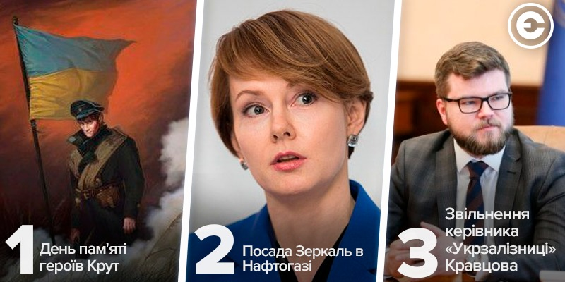 Найголовніше за день: день пам'яті героїв Крут, посада Зеркаль в Нафтогазі та звільнення керівника «Укрзалізниці» Кравцова