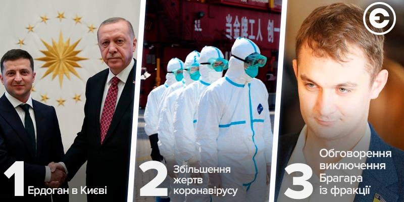 Найголовніше за день: Ердоган в Києві, збільшення жертв коронавірусу та обговорення виключення Брагара із фракції