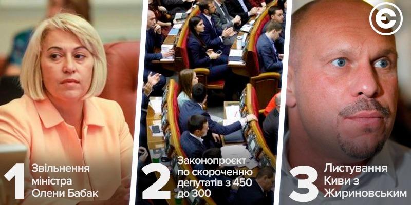 Найголовніше за день: звільнення міністра Олени Бабак, законопроєкт по скороченню депутатів з 450 до 300, листування Киви з Жириновським